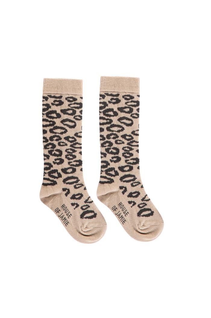 House Of Jamie Knee Socks Caramel Leopard_1