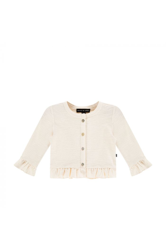 House Of Jamie Frill Cardigan Cream Rough Sweat