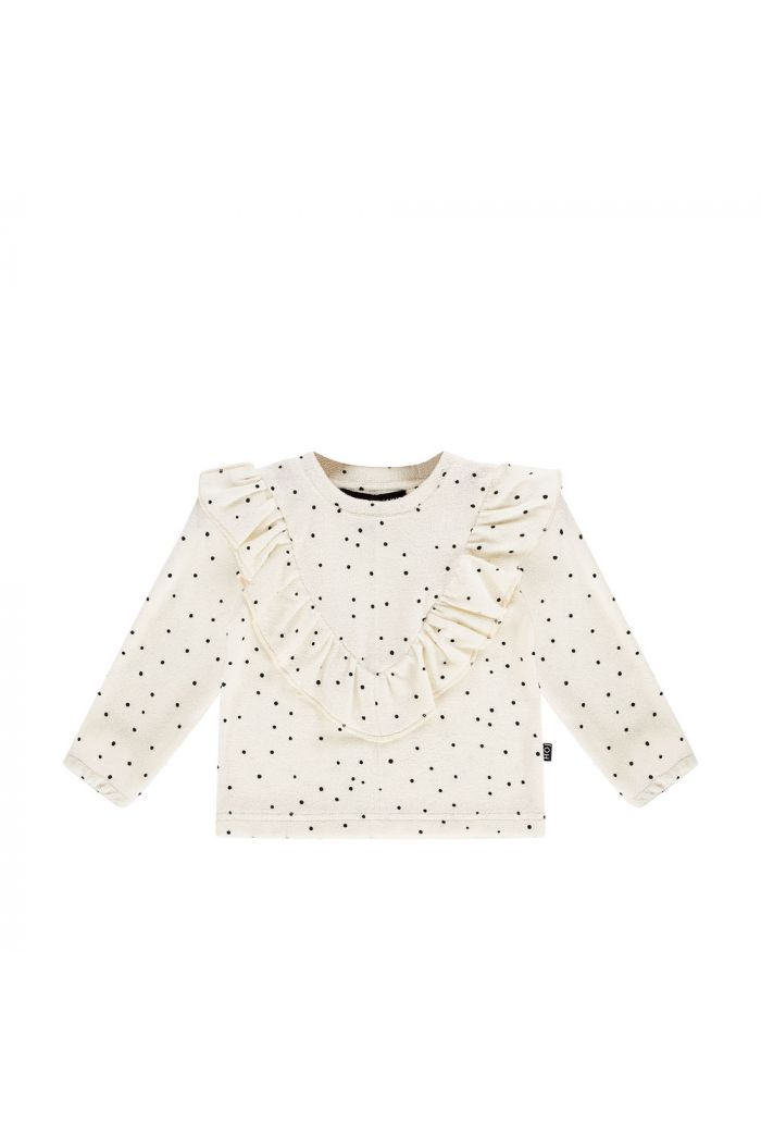 House Of Jamie Front Ruffled Sweater Cream Black Dots