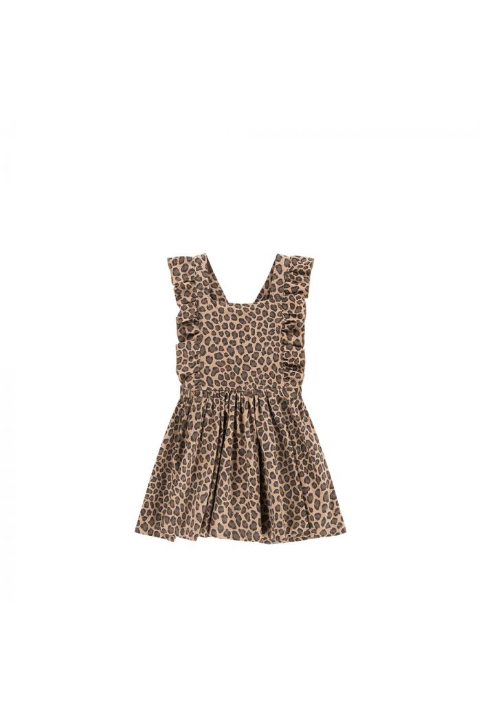 House Of Jamie Ruffled Salopette Dress Caramel Leopard