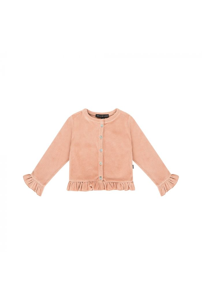 House Of Jamie Frill Cardigan Terra blush velvet_1
