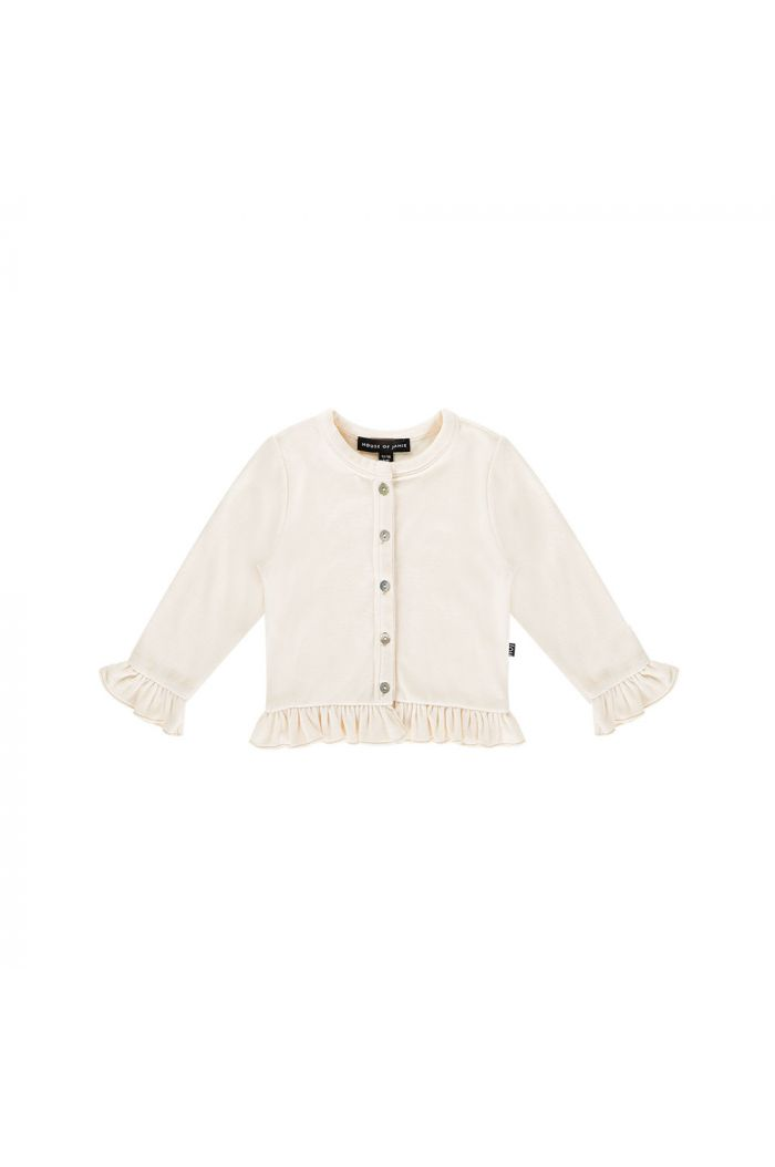 House Of Jamie Frill Cardigan Cream velvet_1