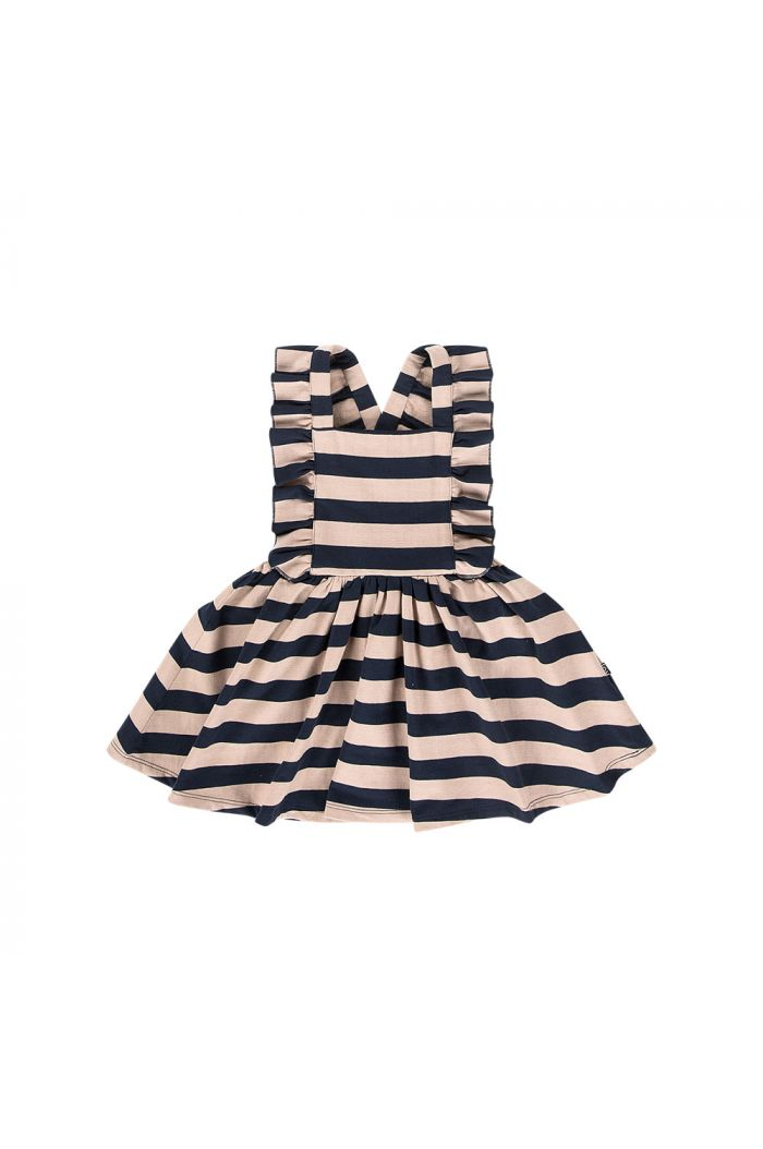 House Of Jamie Ruffled Salopette Dress Biscuit & blue stripes_1