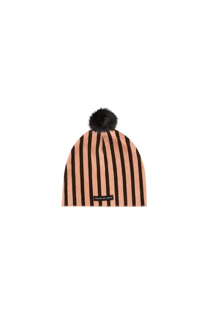 House Of Jamie Pom Pom Hat Blush & choco stripes velvet_1