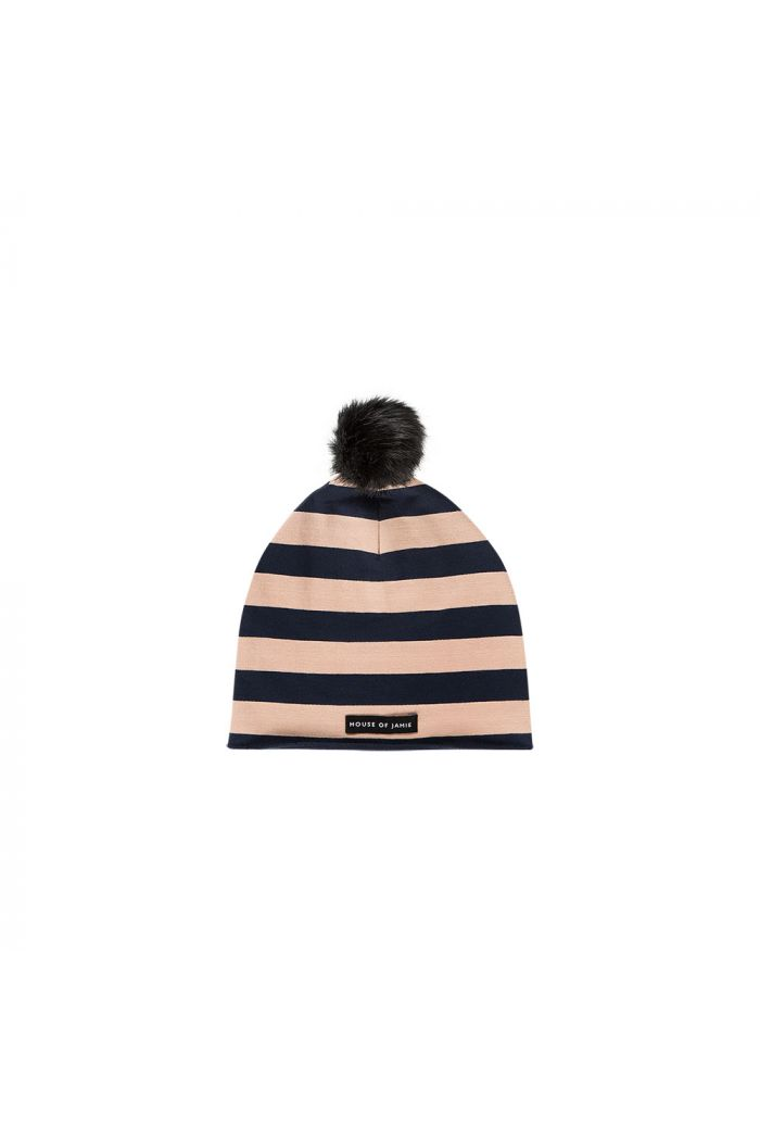 House Of Jamie Pom Pom Hat Biscuit & blue stripes_1