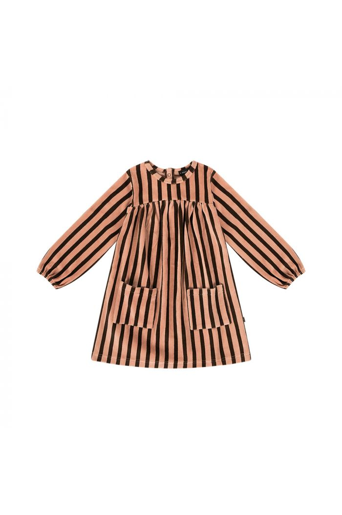 House Of Jamie Pocket Dress Blush & choco stripes velvet_1