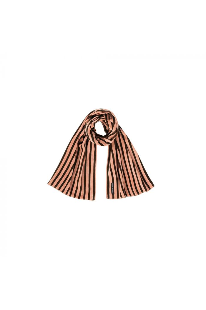 House Of Jamie Long Scarf Blush & choco stripes velvet_1