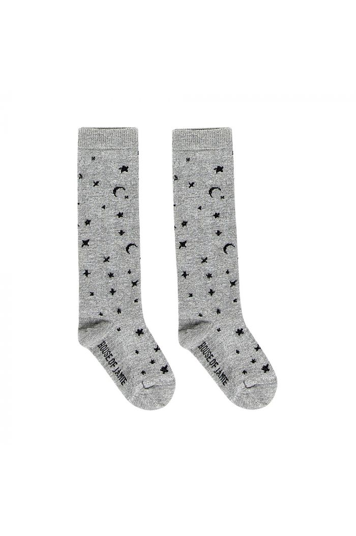 House Of Jamie Knee Socks Little Stars Stone_1