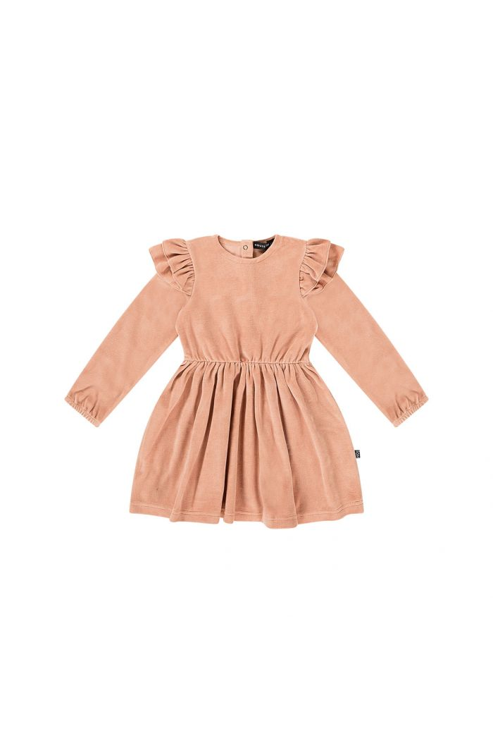House Of Jamie Girls Dress Terra blush velvet_1