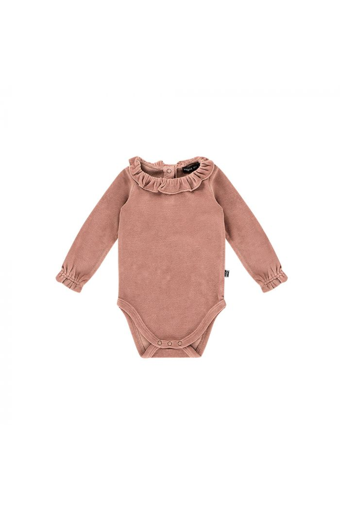 House Of Jamie Frill Collar Bodysuit Dusty mauve velvet_1