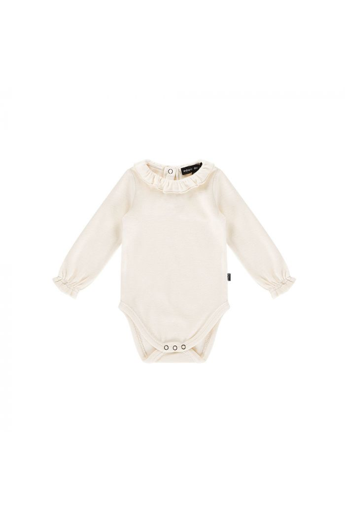 House Of Jamie Frill Collar Bodysuit Cream velvet_1