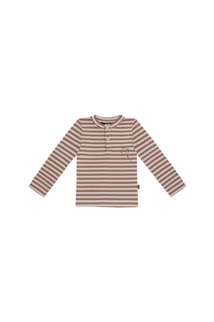 House Of Jamie Rib Long Sleeve Tee Baked Clay Stripes _1