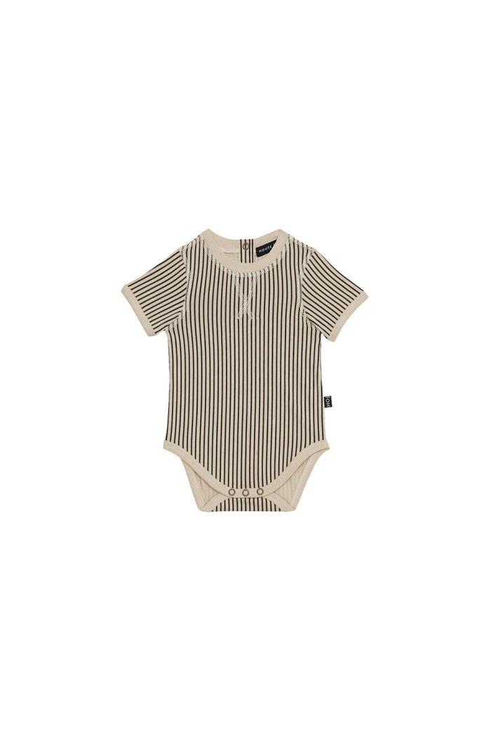 House Of Jamie Crewneck Bodysuit Charcoal Sheer Stripes_1