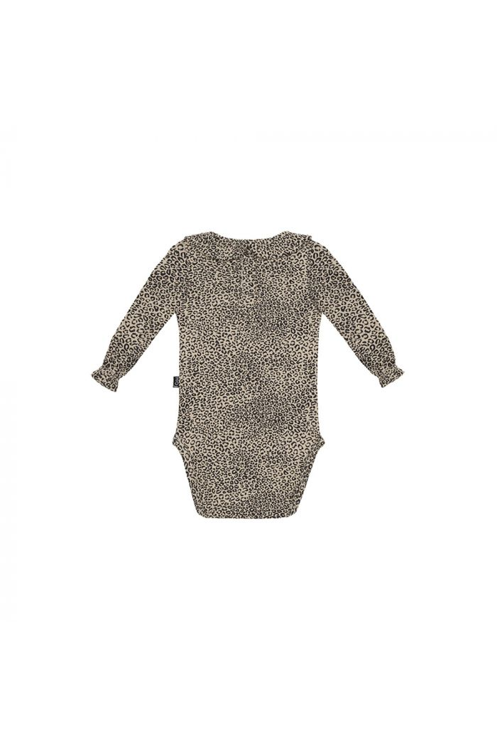House Of Jamie Rib Collar Bodysuit Charcoal Little Leopard_1