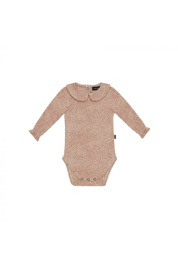 House Of Jamie Rib Collar Bodysuit Rose Dawn Leopard _1