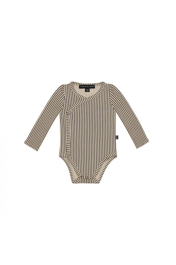 House Of Jamie Wrap Button Bodysuit Charcoal Sheer Stripes_1