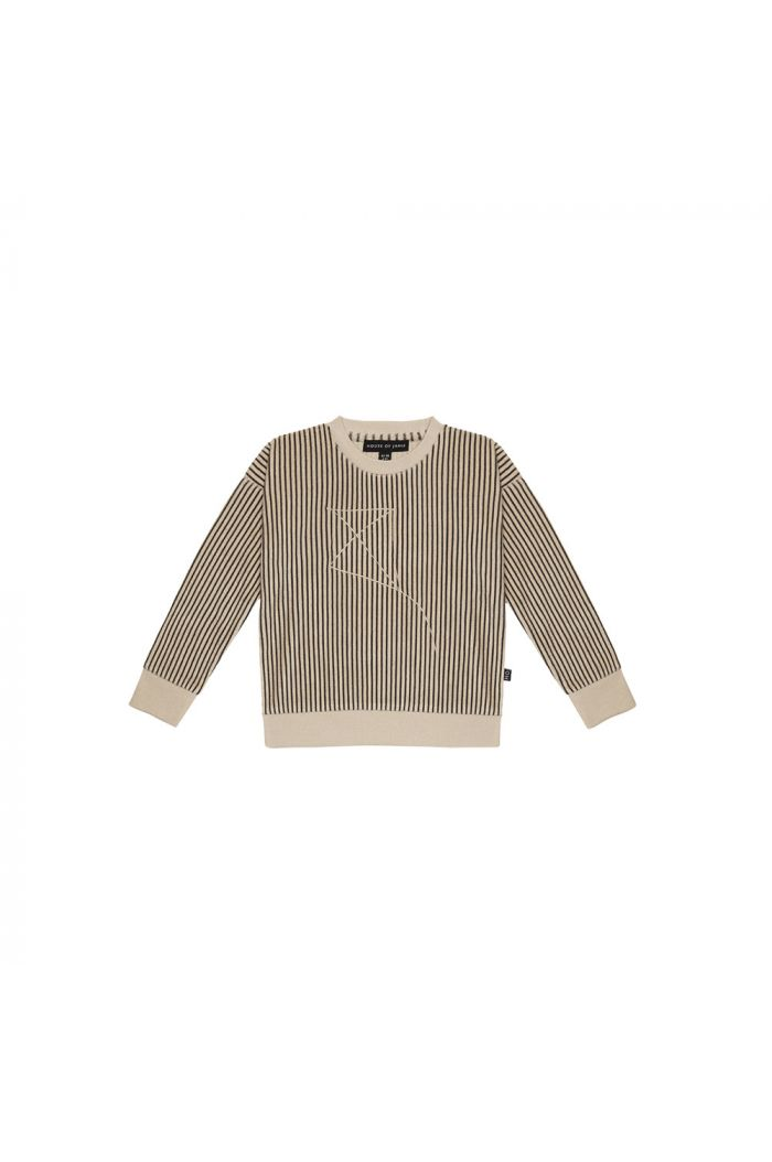 House Of Jamie Crewneck Sweater Charcoal Sheer Stripes_1