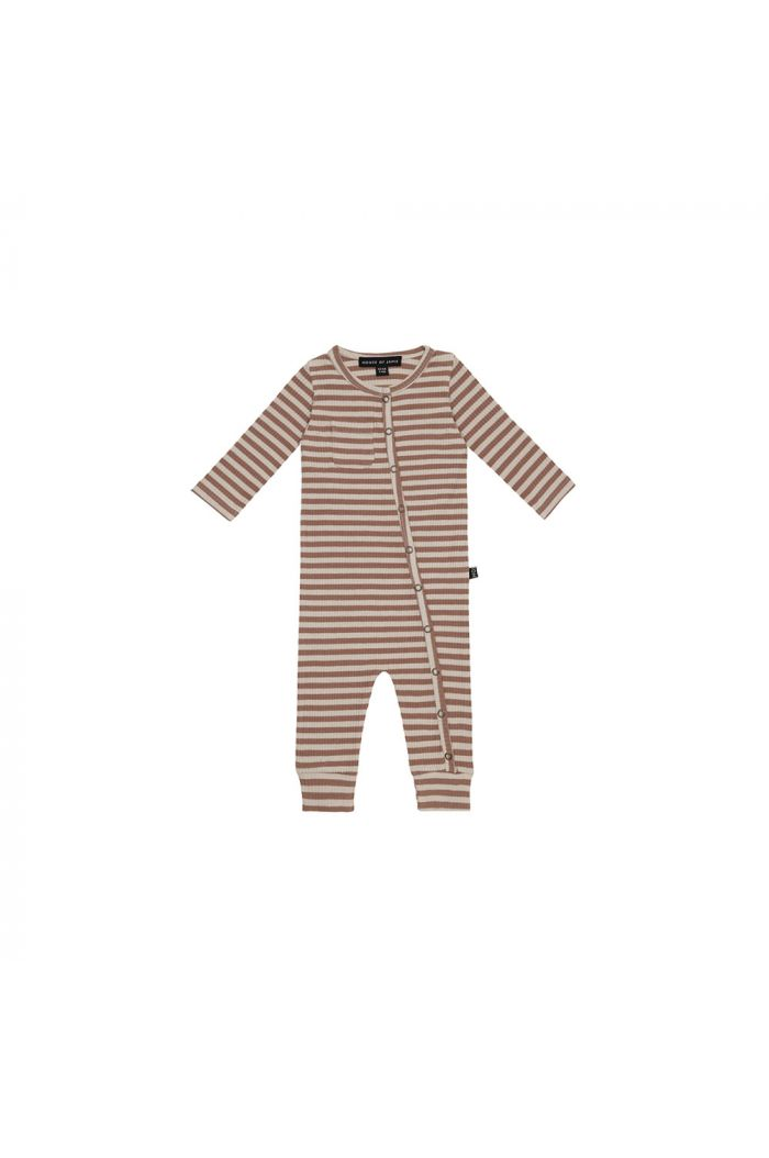 House Of Jamie Rib Button Jumpsuit Baked Clay Stripes _1