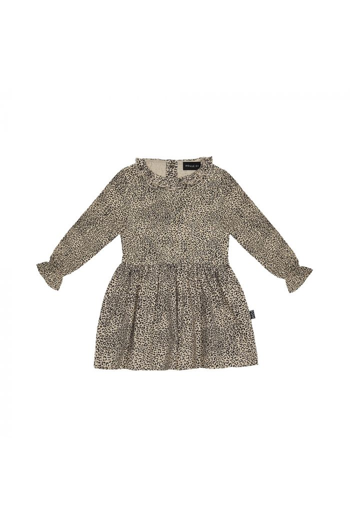 House Of Jamie Frill Collar Baby Dress Charcoal Little Leopard_1