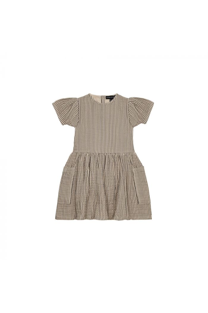 House Of Jamie Relaxed Pocket Dress Charcoal Sheer Stripes_1