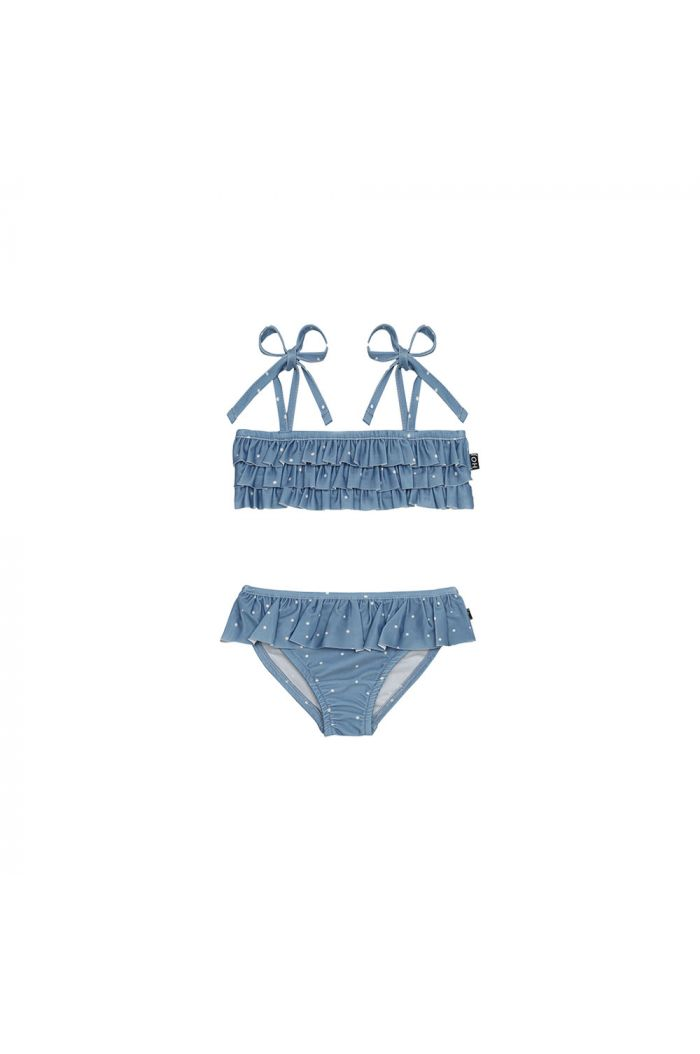 House Of Jamie Fringe Bikini Faded Denim White Dots _1