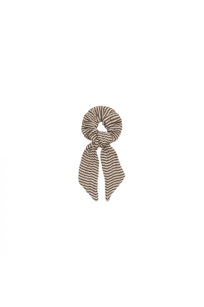 House Of Jamie Ribbon Scrunchie Charcoal Sheer Stripes_1