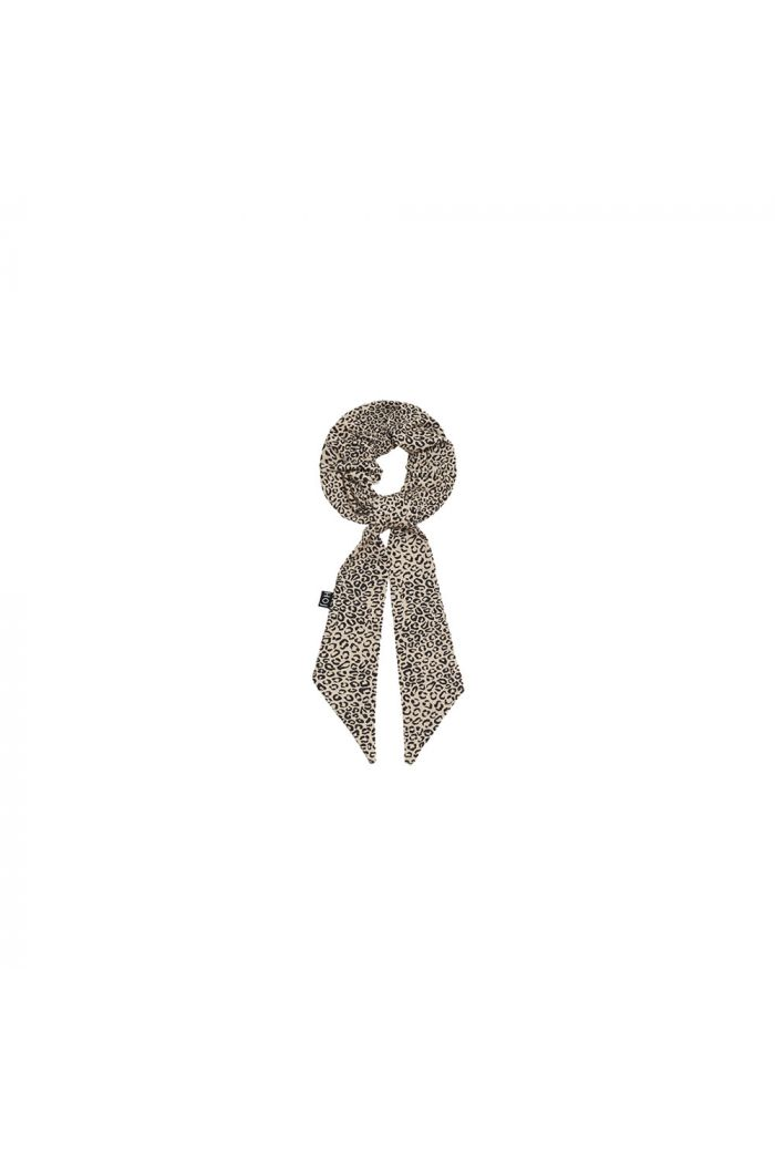 House Of Jamie Ribbon Scrunchie Charcoal Little Leopard_1