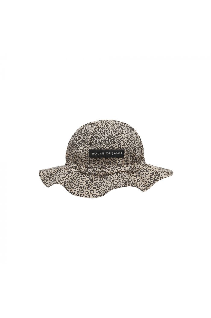 House Of Jamie Girls Sun Hat Charcoal Little Leopard_1