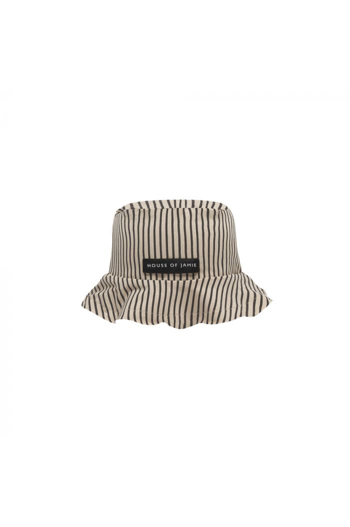 House Of Jamie Summer Hat Charcoal Sheer Stripes_1
