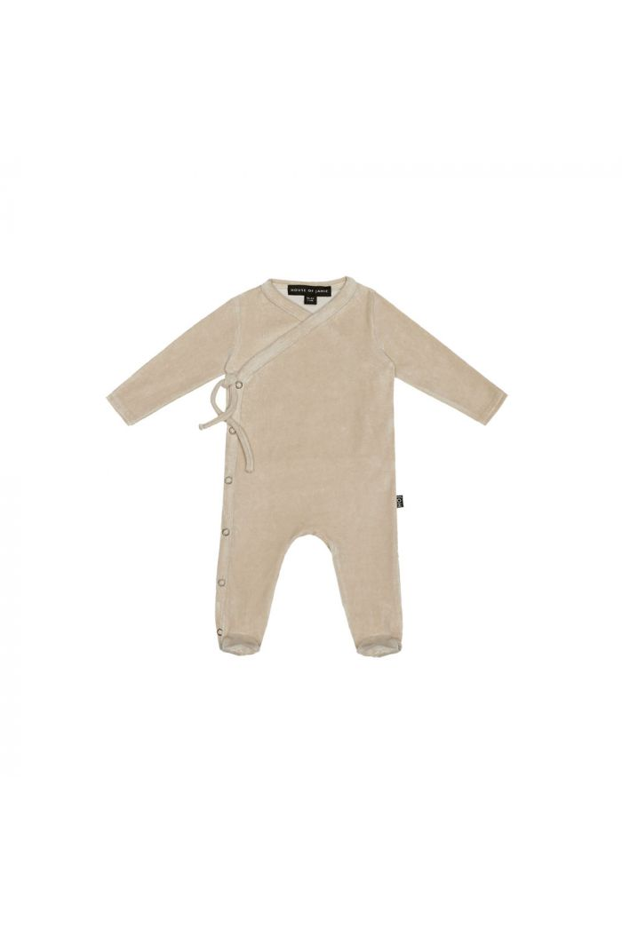 House Of Jamie Wrap Babysuit Oatmeal Velvet_1