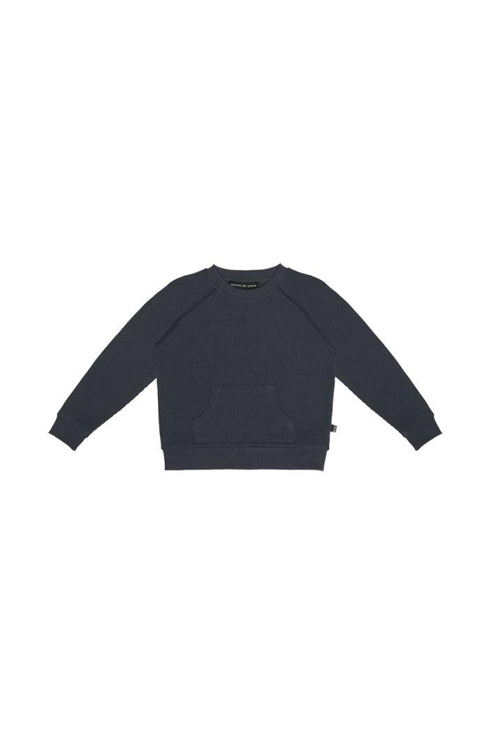 House Of Jamie Raglan Sweater Vintage Blue Waffle_1