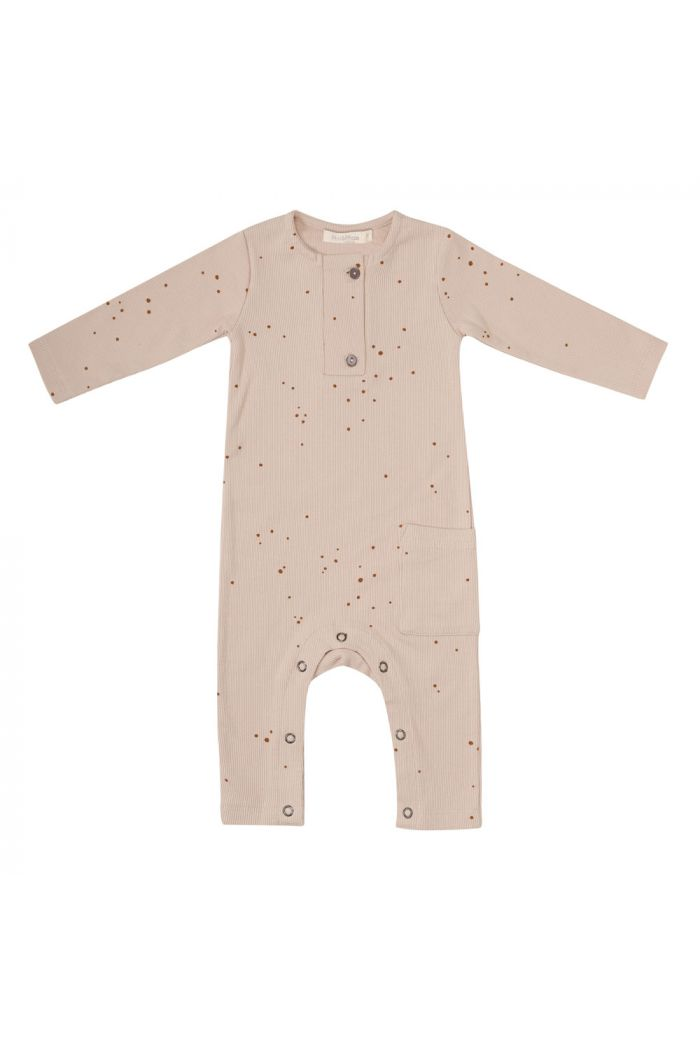 Phil&Phae Rib henley jumpsuit longsleeve dots Warm Cream_1