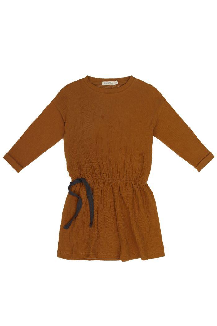 Phil&Phae Textured blouson dress longsleeve golden olive_1