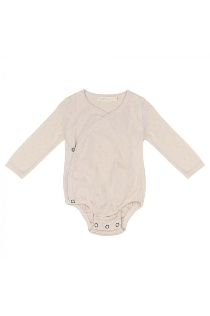 Phil&Phae Cross-over body longsleeve pointelle Oatmeal_1