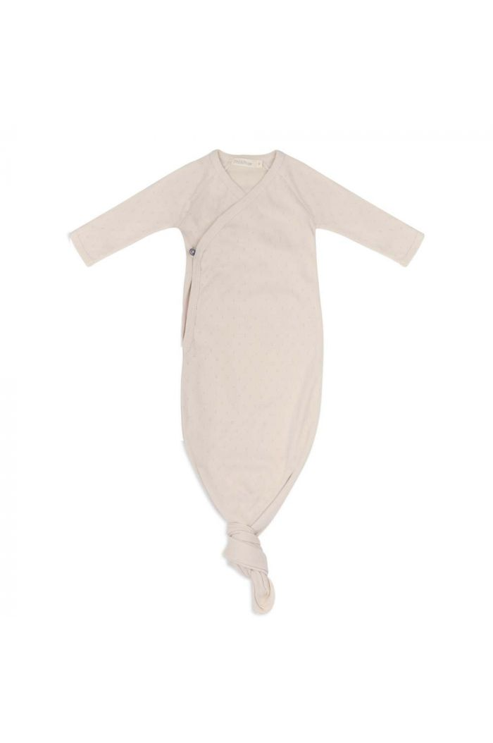 Phil&Phae Knotted Baby Gown Pointelle Oatmeal_1