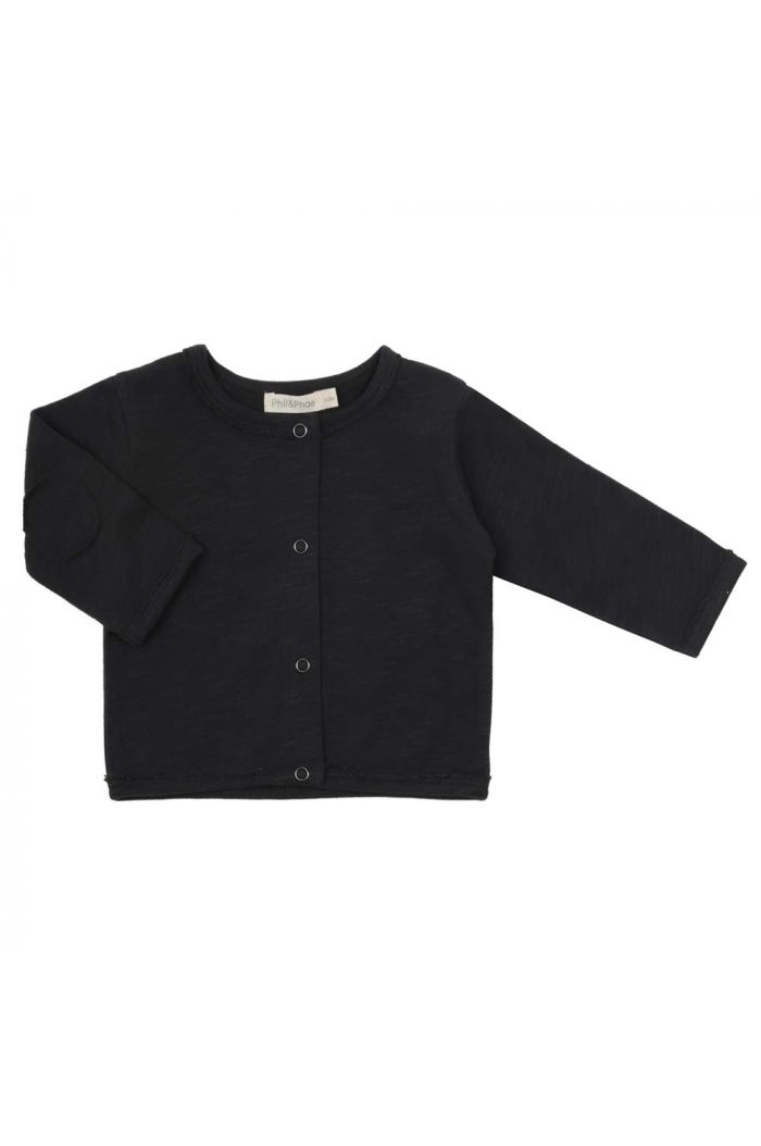 Phil&Phae Raw-edged baby cardigan Charcoal_1