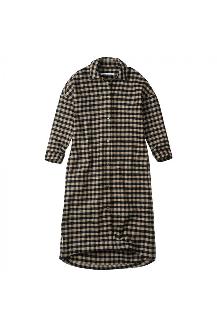 Mingo Oversized Shirt Dress Checked Flannel Caramel / Black_1