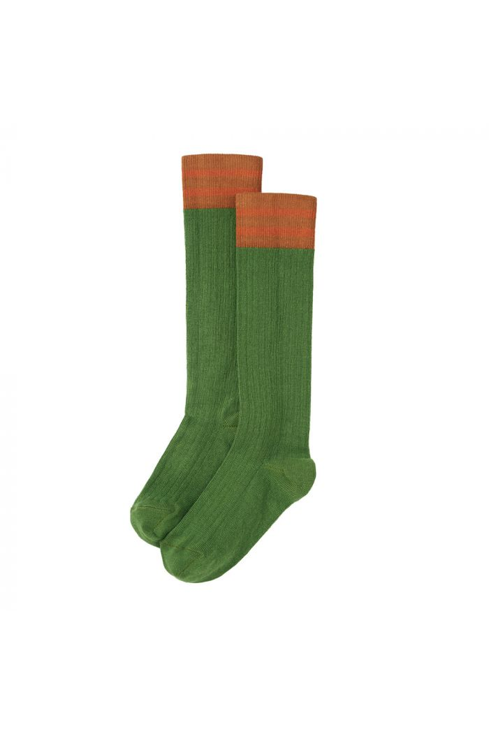 Mingo Rib Knee Socks Moss Green / Dark Ginger / Caramel_1