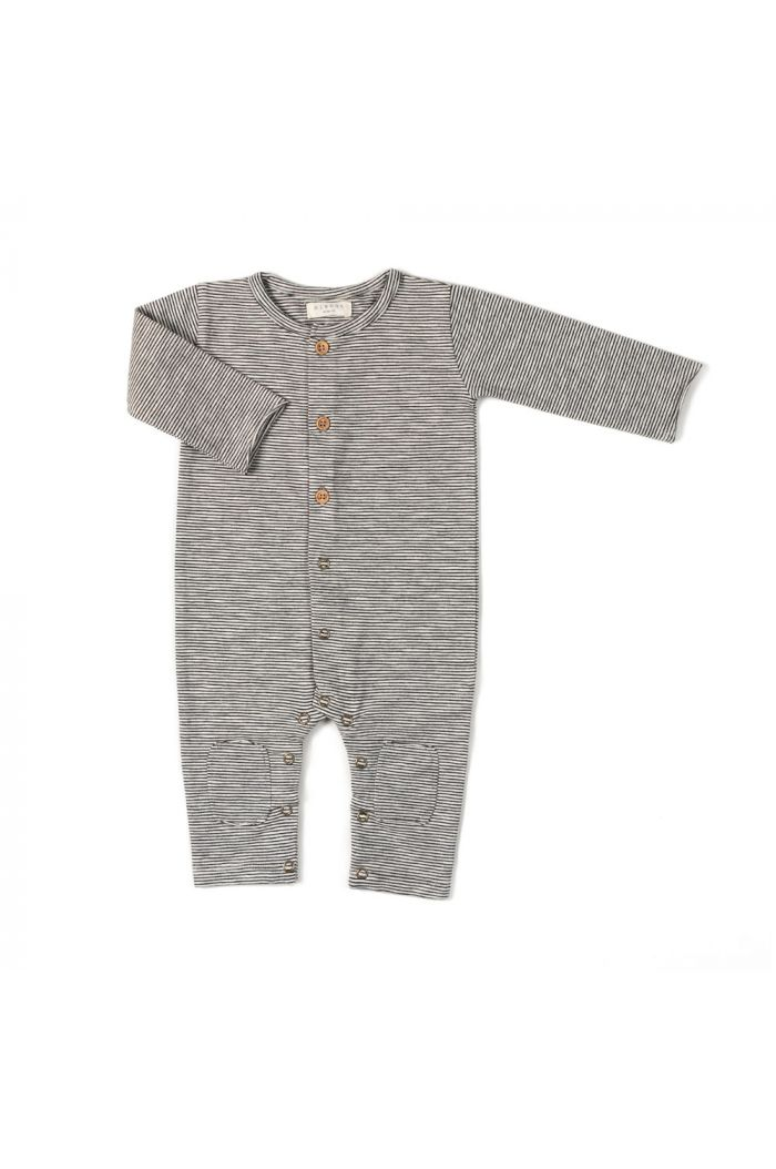 Nixnut Button Onesie Stripe Black/White_1