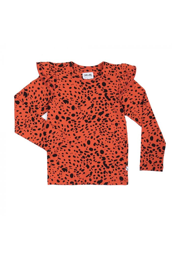 CarlijnQ ruffled longsleeve Spotted animal
