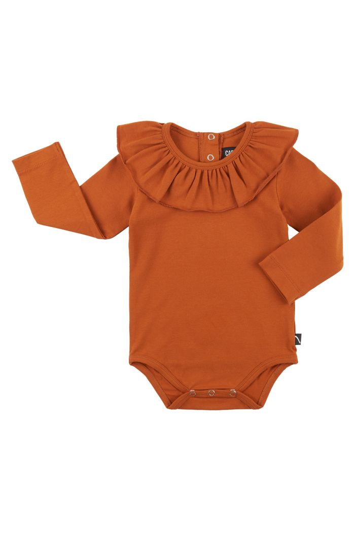 CarlijnQ Basics - Bodysuit With Big Collar Orange_1