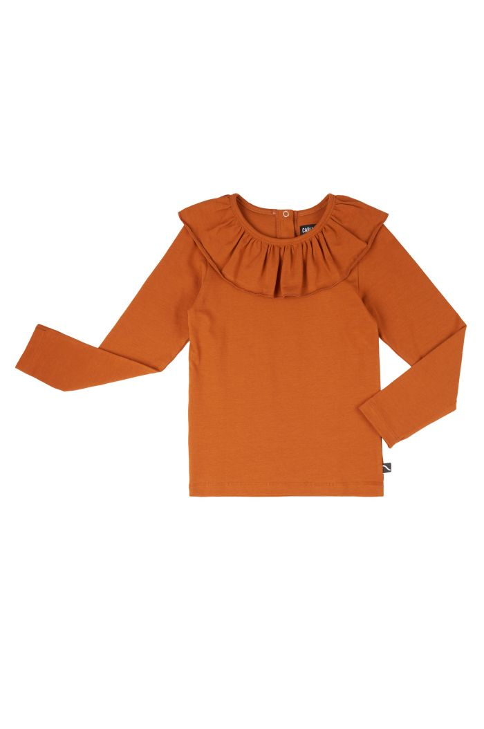 CarlijnQ Basics - Longsleeve With Big Collar Orange_1