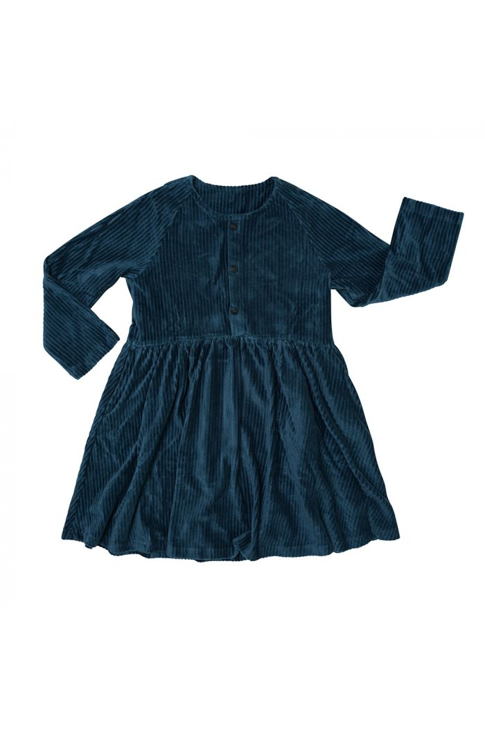 CarlijnQ Dress With 3 Buttons Corduroy Teal_1