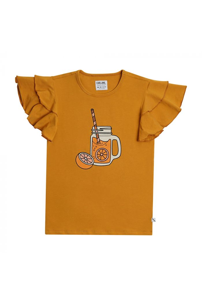 CarlijnQ Ruffled T-Shirt With Print Lemonade_1