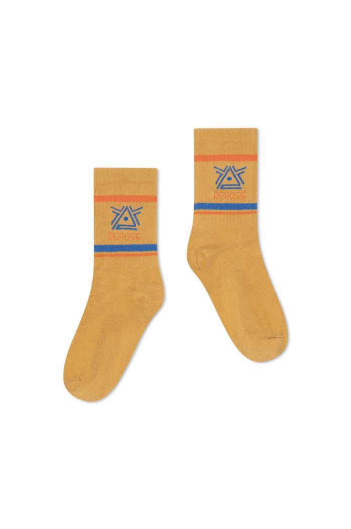 Repose AMS Sporty Socks Caramel Logo_1