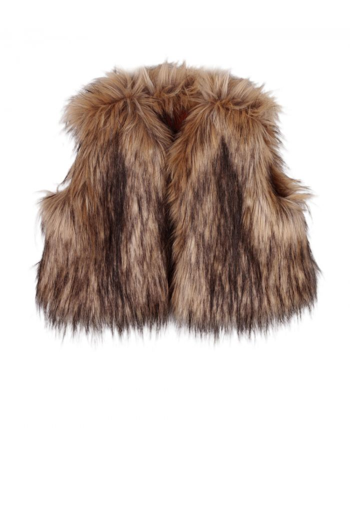 Ammehoela Funk fake fur gilet Brown_1