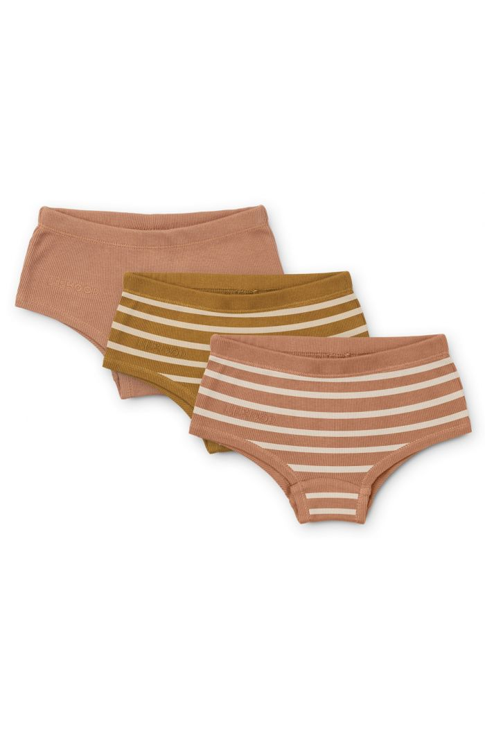 Liewood Nicky hipsters 3-pack Y/D Stripe: Tuscany rose multi mix