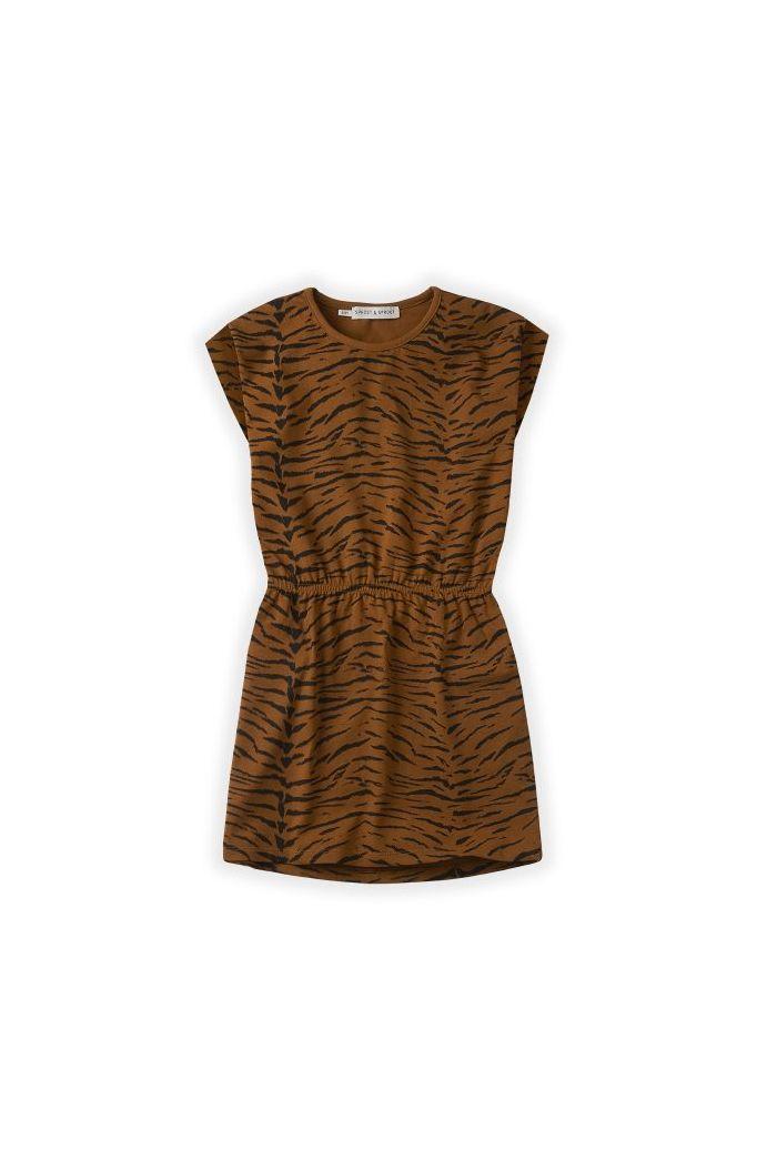 Sproet & Sprout Short Sleeve Dress print Tiger Caramel