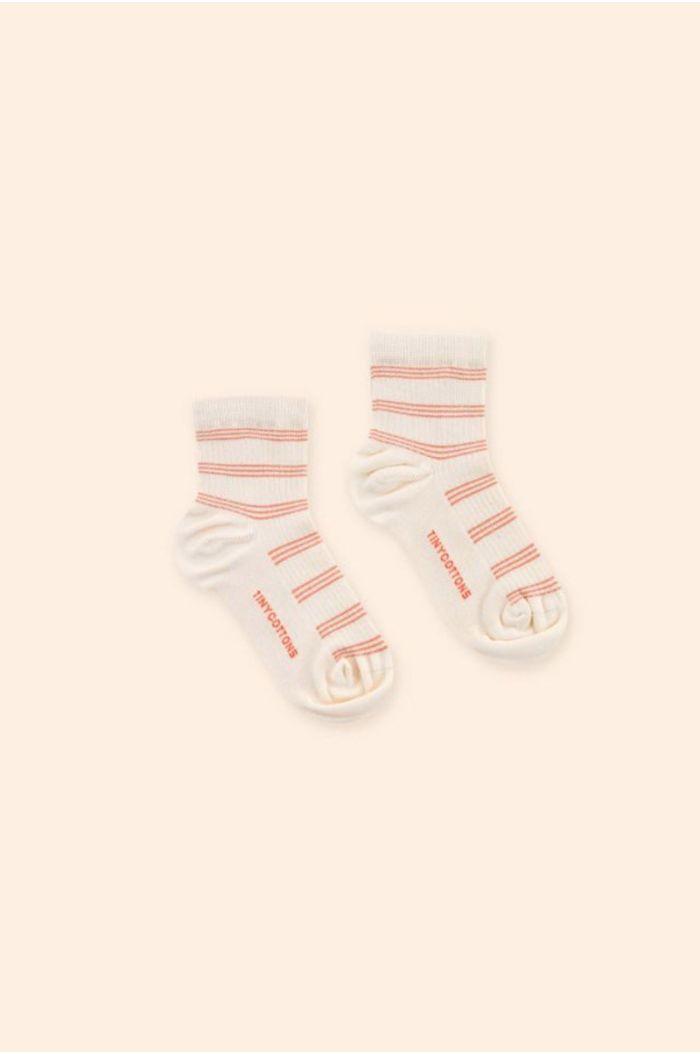 Tinycottons Retro Stripes Quarter Socks Light Cream_1