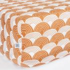 Swedish Linens Rainbows Toddler bed sheet Cinnamon brown